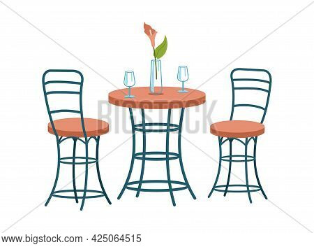 Fashionable Twisted Chairs And Dining Table. Modern Entourage In Scandinavian Style. Winding Furnitu