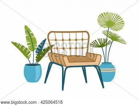 Wicker Armchair With Tropical Plants In Pots. Stylish Furniture In Modern Scandinavian Style. Decora