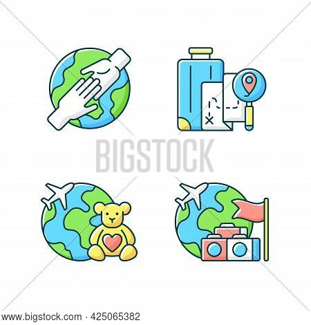 Travel Rgb Color Icons Set. Volunteer Trip. Group Journey. Diy Travel. Fly On Airplane Tour Abroad.