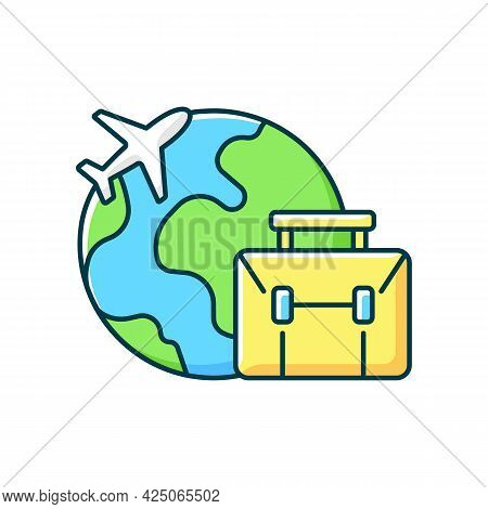 Business Travel Rgb Color Icon. Fly Abroad For Work Meeting. International Journey. Corporate Trip T