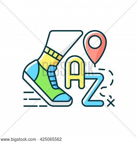 Alphatourism Rgb Color Icon. Leisure Activity And Lifestyle. Traveller Journey. Route For Exercising