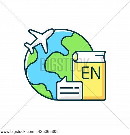 Travel To Teach English Rgb Color Icon. Study Abroad. Student Exchange. International Educational Pr