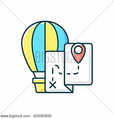 Hot Air Balloon Tourism Rgb Color Icon. Flight Journey. Fly High In Basket. Tour Plan For Entertainm