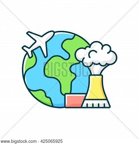 Atomic Tourism Rgb Color Icon. Nuclear Industry Exploration Abroad. Flight To Foreign Country. Indus