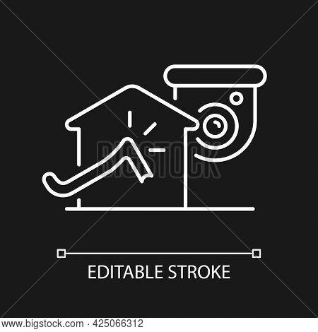 Avoiding House Intrusion With Cctv System White Linear Icon For Dark Theme. Burglaries Prevention. T