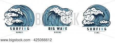 Wave With Foam For Surfing. Marine Hawaii Tide