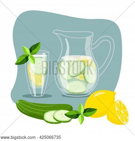 Cucumber Water With Lemon. Cool Fresh Lemonade In Glass Pitcher And Glass. Summer Drink And Fruit An