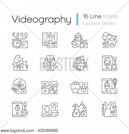 Videography Linear Icons Set. Business Footage. Online Classes For Education. Entertaining Content.