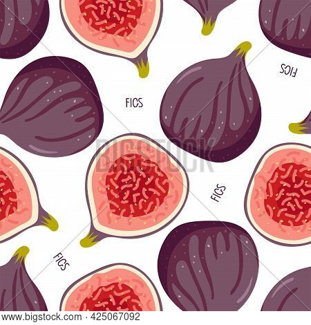 Seamless Pattern With Figs, Whole And Half Isolated On White. Summer Tropical Fruit Background. Purp