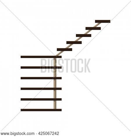 Modern staircase. Isolated cartoon flat icon of stairs. Element for hotel lobby