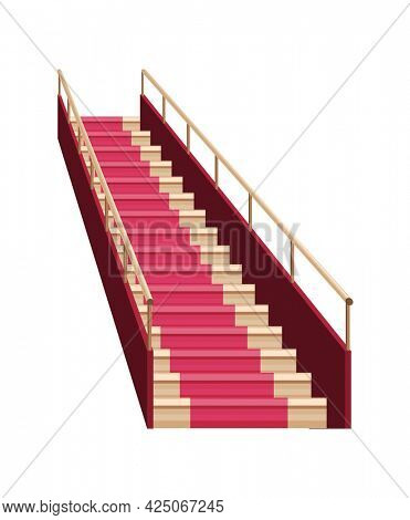 Staircase luxurious wooden covered red carpet. Wooden staircase icon. Isolated cartoon flat stairs. Element for hotel lobby