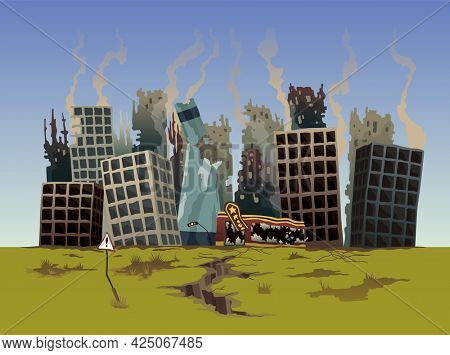 Destroyed city. Street of the city, destroyed by natural disaster. Ruins with destroyed abandoned buildings. Destruction in war zone or post-apocalyptic world cartoon concept