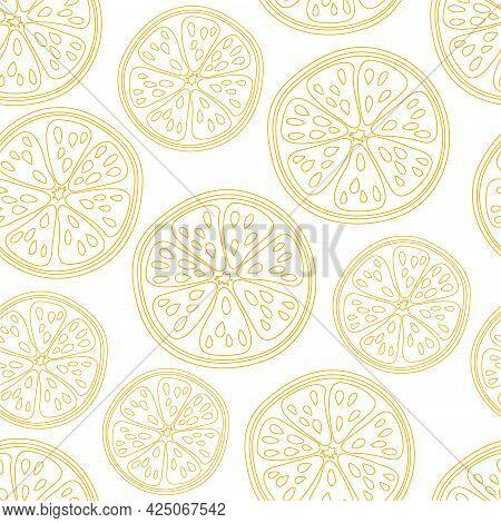 Orange Fruit Seamless Pattern On White Background. Exotic Tropical. Summer Flat Vector Illustration