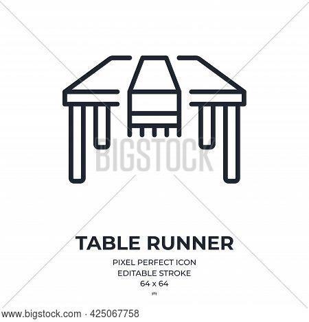 Table Runner Editable Stroke Outline Icon Isolated On White Background Flat Vector Illustration. Pix