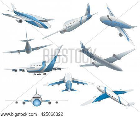 Set of airplanes in different positions for commercial aviation fleet. Aircraft transport. Civil aircraft journey and aviation symbols. Wing flight transport