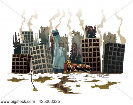 Destroyed city. Street of the city, destroyed by natural disaster. Ruins with destroyed abandoned buildings. Destruction in war zone, natural disaster or cataclysm consequences