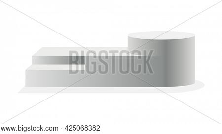 Podium realistic. Showroom pedestal, floor stage platform isolated mockup. 3D realistic round empty podium with steps. Concept of showcase for product, promotion sale or presentation