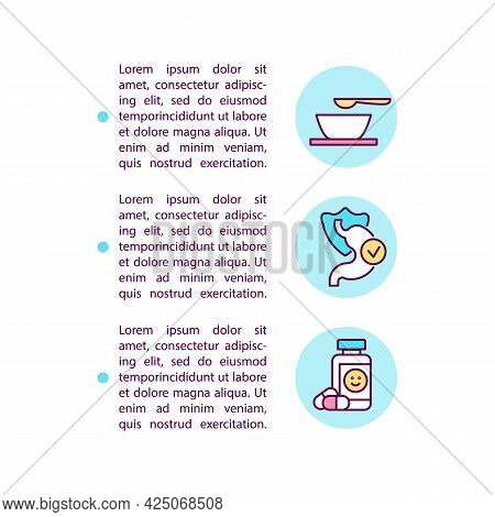Dietary Approaches And Medication Concept Line Icons With Text. Ppt Page Vector Template With Copy S