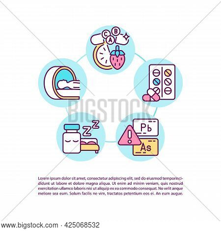 Complementary And Alternative Medicine Concept Line Icons With Text. Ppt Page Vector Template With C