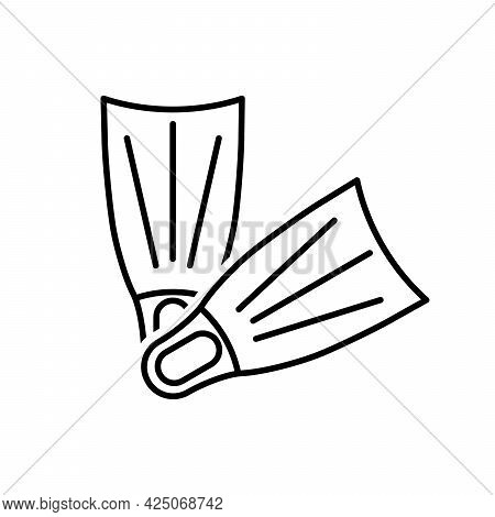 Flippers Icon. Linear Flippers Icon. Vector Illustration. Flippers Vector Icons. Black Linear Flippe