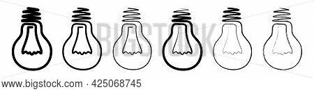 Light Bulb Icon. Set Of Linear Light Bulb Icons. Vector Illustration. Light Bulb Vector Icons. Black