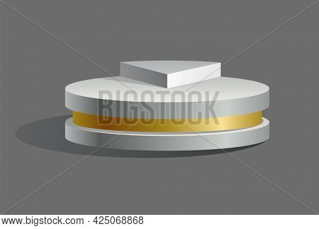 Podium realistic. Showroom pedestal, floor stage platform isolated mockup. White and gold 3D realistic round empty podium with steps. Concept of showcase for product