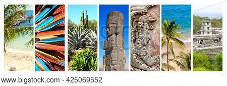 Collection of vertical banners with famous landmarks of Mexico. Ruins of Royal palace, bas-relief of mayan king Pakal, pre-Columbian Mayan civilization in Palenque, atlantean in Tula, cactus garden