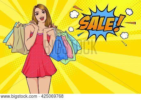 Cheerful Happy Woman Enjoying Shopping  She Is Carrying Shopping Bags Pop Art Comic Style