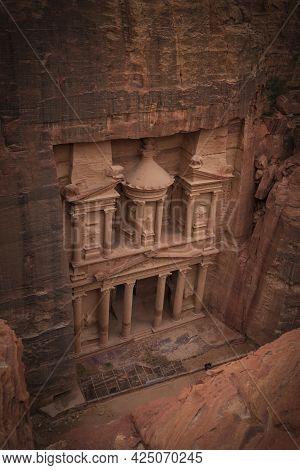The Famous Treasury In Petra Jordan, Top View