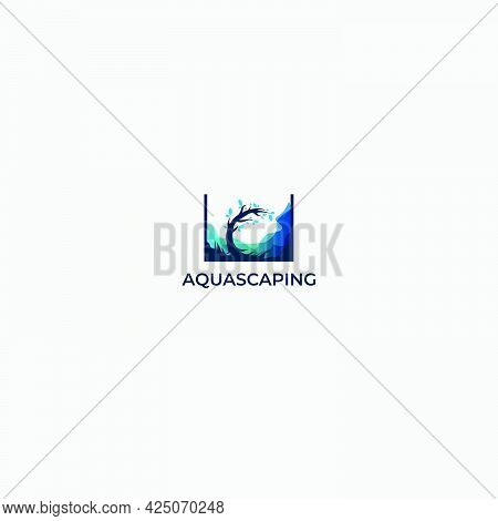 Aqua Scape Logo Aquarium Wave Water Blue Marine