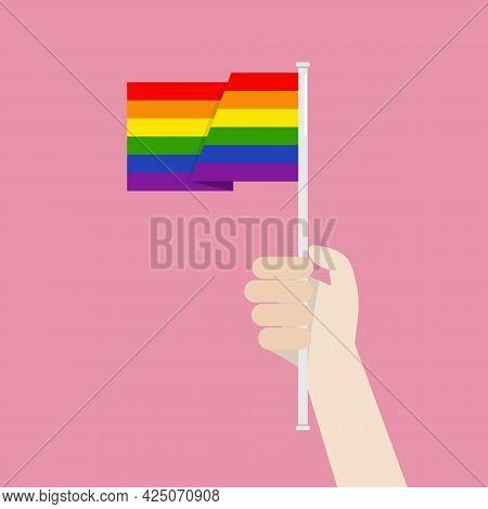 Hand Holding Up Lgbtq Rainbow Flag. Vector Illustration
