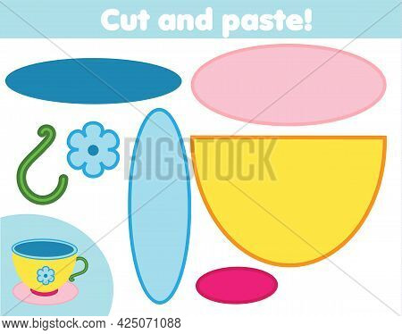 Cut And Paste Children Educational Game. Paper Cutting Activity. Make A Tea Cup With Glue And Scisso
