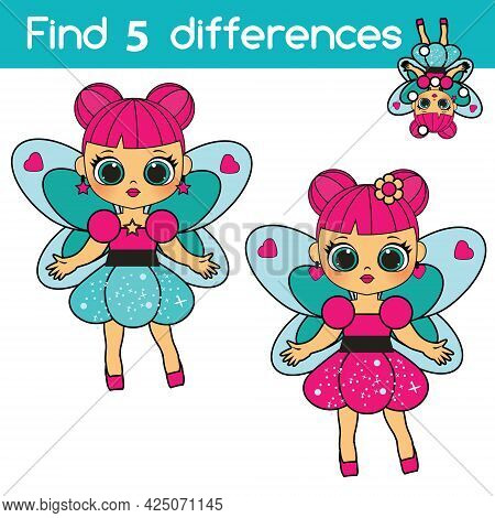 Find The Differences Educational Children Game With Answer. Kids Activity With Sweet Fairy Princess