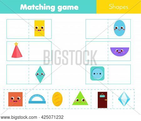 Educational Children Game. Matching Game Worksheet For Kids. Match By Shape. Learning Geometric Form