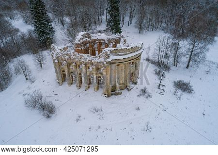 View Of The Ruins Of The Ancient Church Of The Holy Trinity In The Village Of Fifth Mountain On A Cl