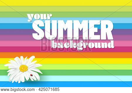 Abstract Background With Colorful Stripes And Daisy Flower For Your Summer Design - Vector Illustrat