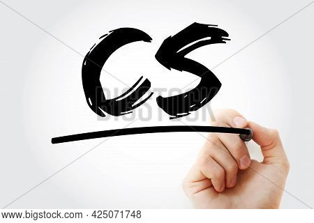 Cs - Computer Science Acronym With Marker, Technology Concept Background