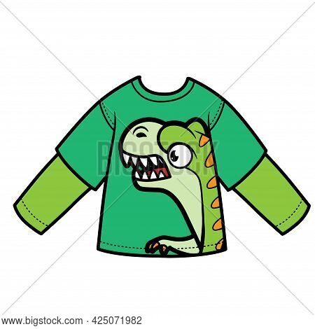 Long Sleeve T-shirt With Cartoon Tyrannosaurus For Boy Color Variation For Coloring On A White Backg