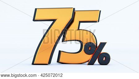 3d Render Of Discount Seventy Five 75 Percent Off Isolated On White Background