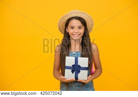 Your Excuse To Shop. Happy Child Hold Product Box Yellow Background. Gift Shop. Shopping Product. Bu