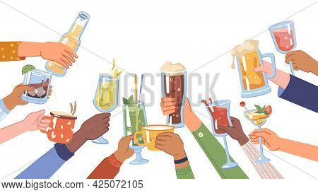 Celebration And Festivity, Isolated Hands Holding Beverages And Drinks In Cups And Glasses. Alcohol