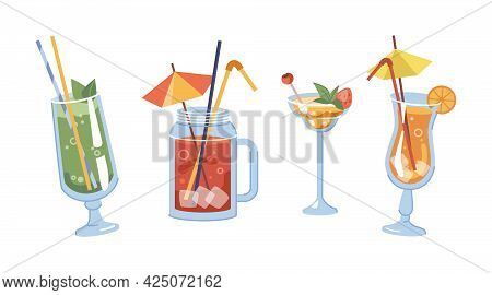 Alcoholic Drinks With Decorative Straws And Umbrellas. Isolated Glasses With Orange Slices And Cherr
