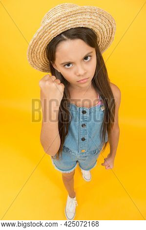 Look Very Serious. Beauty. Long-awaited Summer Vacation. Happy Childhood. Serious Little Girl Wear S
