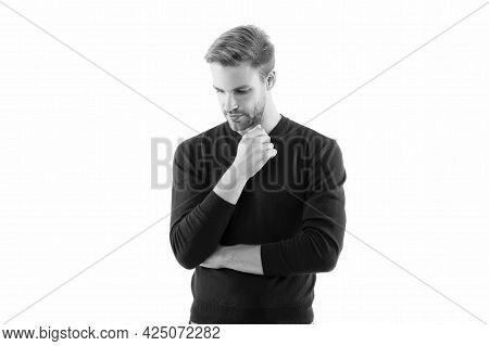 He Always Looks Impeccable. Looking Trendy. Facial Care. Handsome Man Isolated On White. Unshaven Ma
