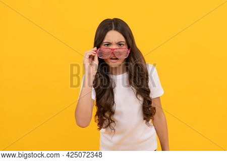 Curious Kid In Fancy Glamour Party Eyeglasses With Rhinestones, Curiosity