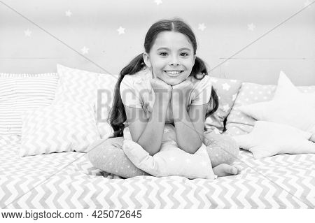 Child Sleep. Happy Baby Sit In Bed. Small Child Going To Bed. Bed Time Routine. Bedtime. Good Night.