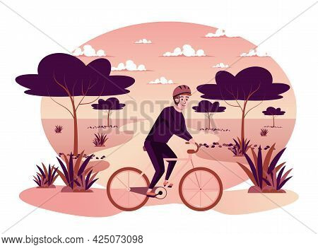 Man Riding Bicycle In Autumn Park Isolated Scene. Guy Rides Bike In Nature, Cardio Workout And Healt