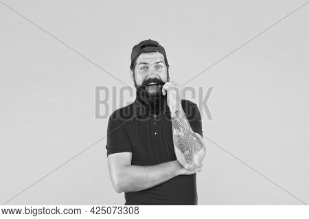 Mister Moustache Barber Shop. Bearded Man Twirl Mustache. Happy Hipster Yellow Background. Professio