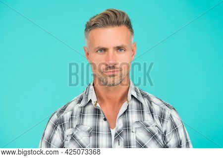 Skin Care. Mature Face. Male Natural Beauty. Man Well Groomed Facial Hair. Barber Shop Concept. Barb