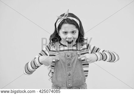 Childhood Problems And Transition Period. Retro Girl Express Rebellion. Little Child Yellow Backgrou
